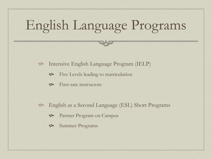 English Language Programs