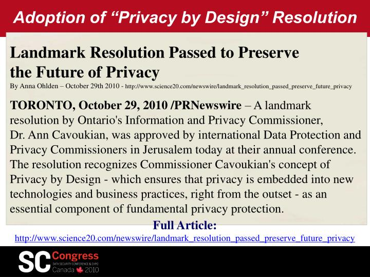 "Adoption of ""Privacy by Design"" Resolution"
