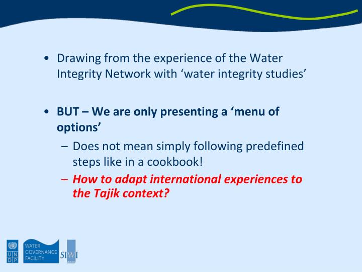 Drawing from the experience of the Water Integrity Network with 'water integrity studies'