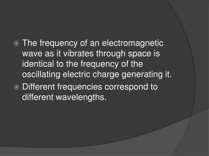 The frequency of an electromagnetic wave as it vibrates through space is identical to the frequency of the oscillating electric charge generating it.