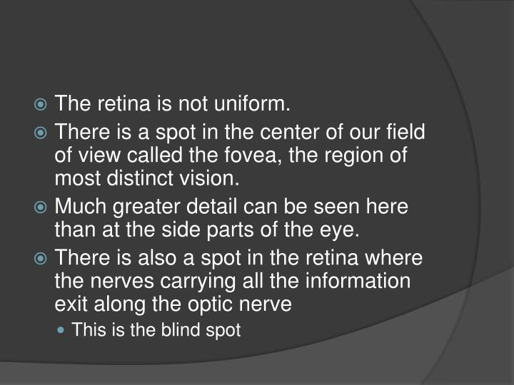 The retina is not uniform.