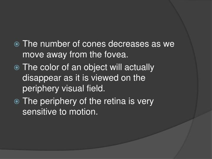 The number of cones decreases as we move away from the fovea.