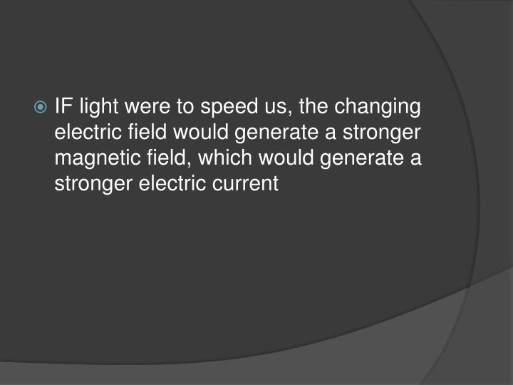 IF light were to speed us, the changing electric field would generate a stronger magnetic field, which would generate a stronger electric current