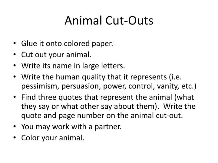 Animal cut outs