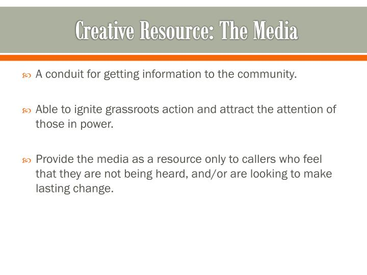 Creative Resource: The Media
