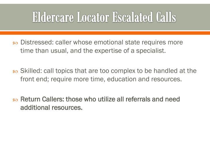 Eldercare Locator Escalated Calls