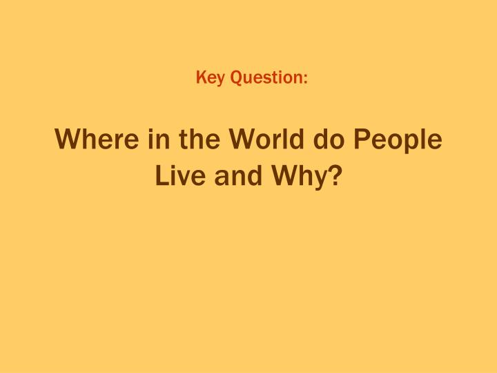 Where in the world do people live and why