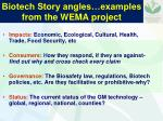 biotech story angles examples from the wema project