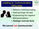 leading to communication difficulties