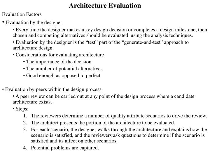 architecture evaluation n.