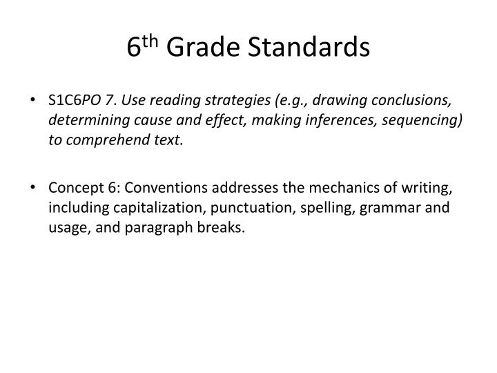 6 th grade standards