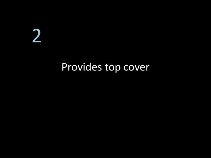 Provides top cover