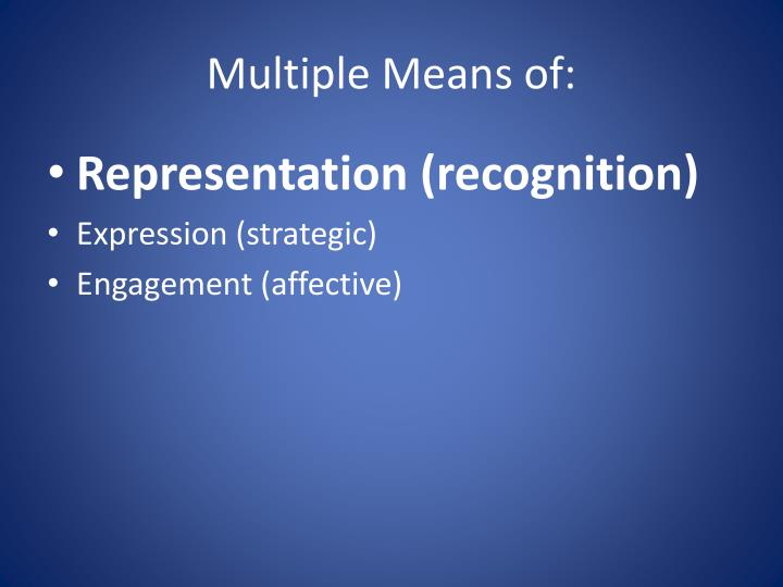 Multiple Means of: