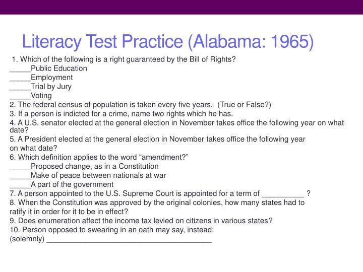 Literacy Test Practice (Alabama: 1965)