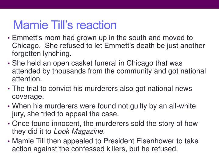 Mamie Till's reaction