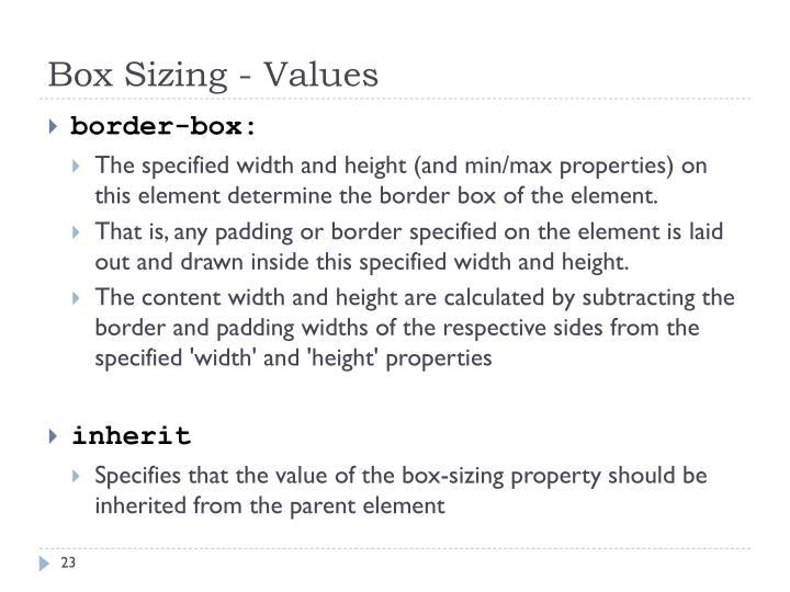 Box Sizing - Values