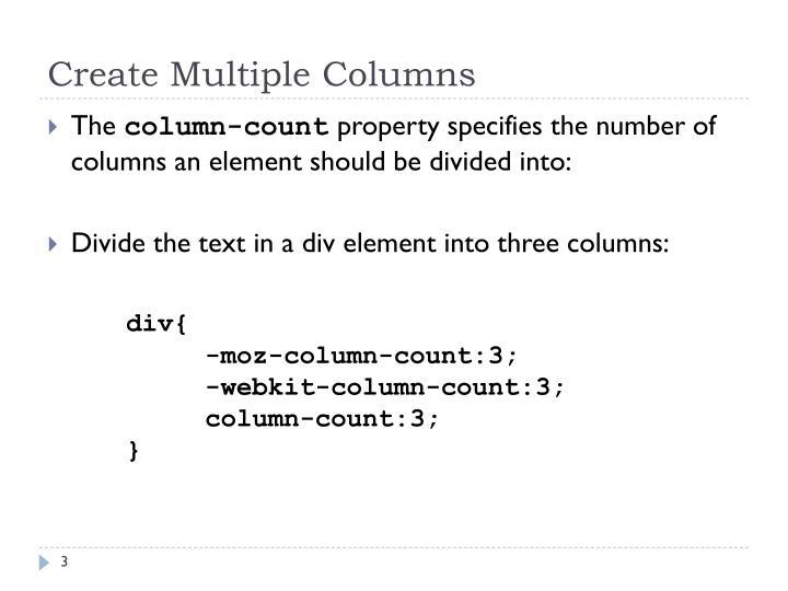 Create multiple columns