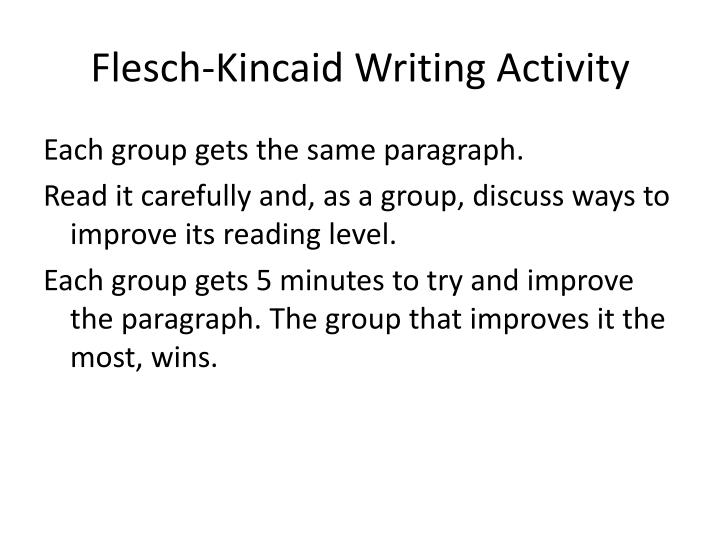Flesch-Kincaid Writing Activity