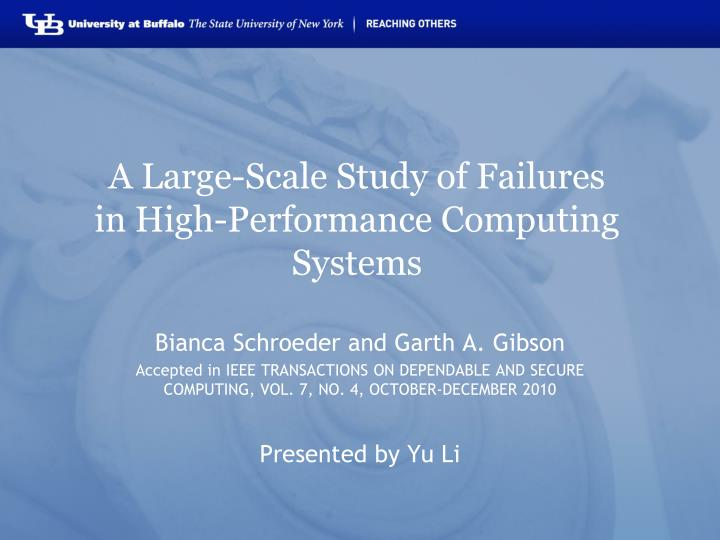 a large scale study of failures in high performance computing systems n.