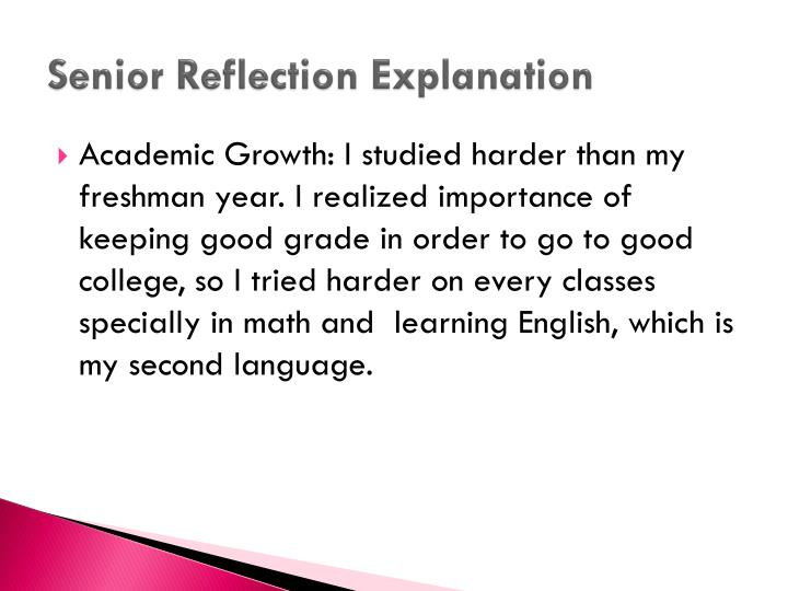 Senior Reflection Explanation