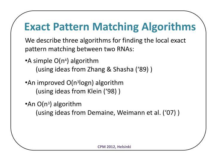 Exact Pattern Matching Algorithms