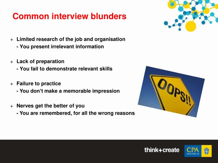 Common interview blunders
