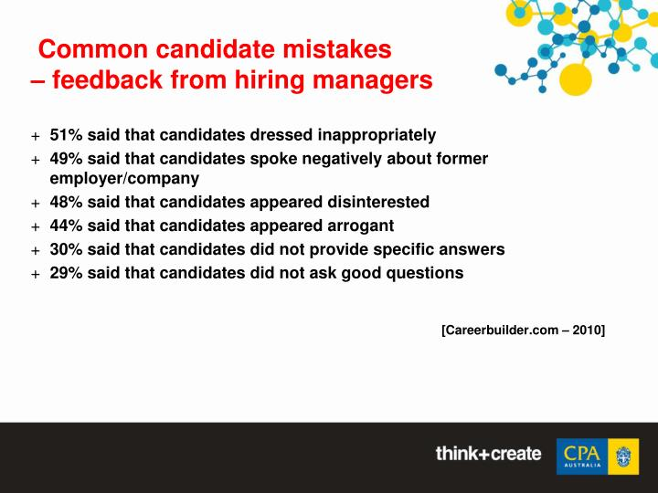 Common candidate mistakes