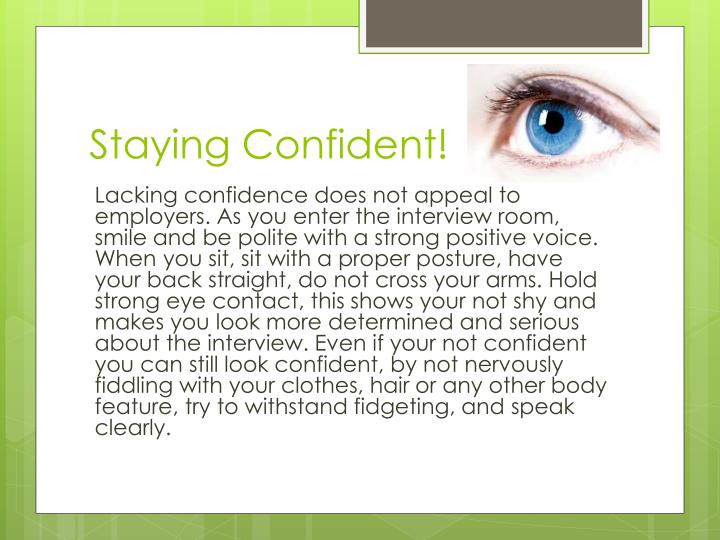 Staying Confident!