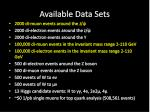 available data sets1