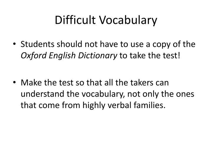 Difficult Vocabulary