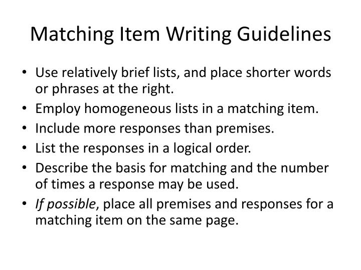 Matching Item Writing Guidelines