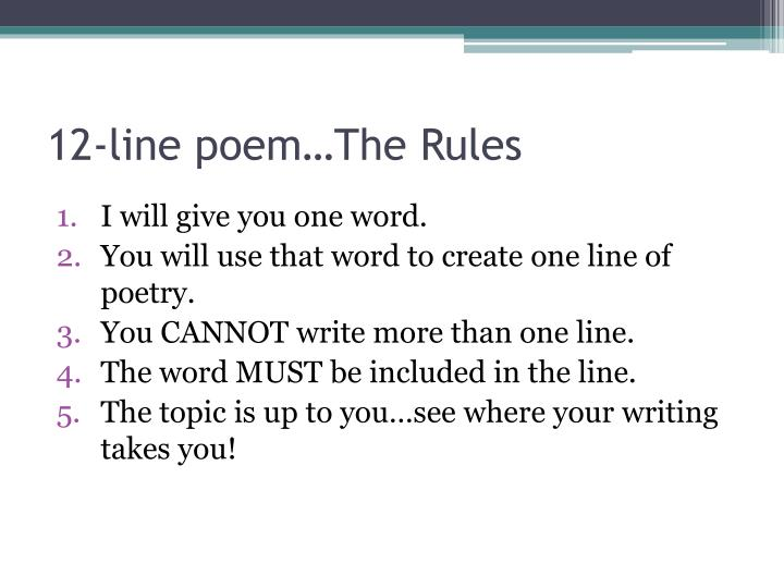 12 line poem the rules