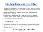 einstein explains p e effect