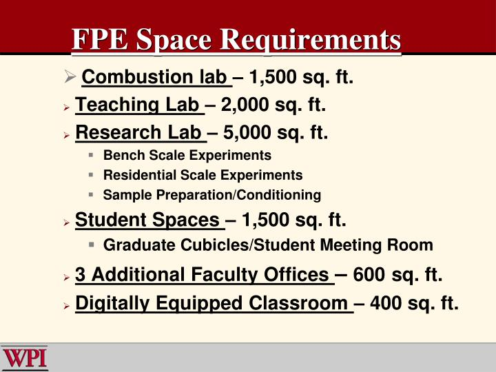 FPE Space Requirements