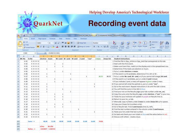 Recording event data