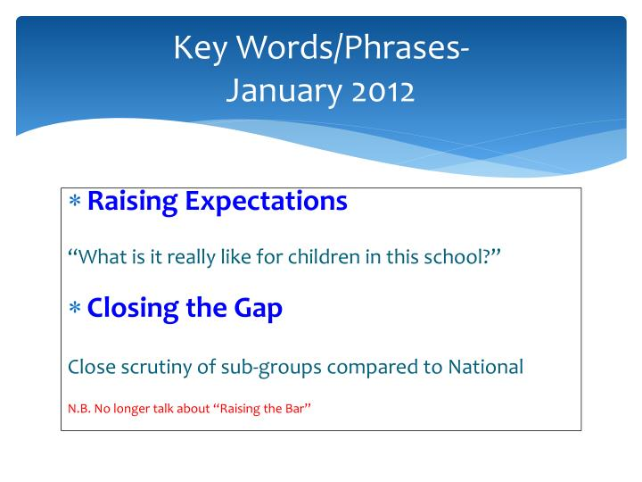 Key words phrases january 2012