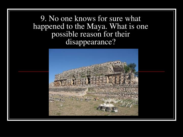 9. No one knows for sure what happened to the Maya. What is one possible reason for their disappearance?