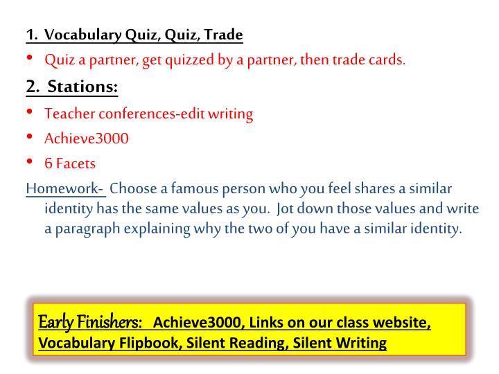 1.  Vocabulary Quiz, Quiz, Trade