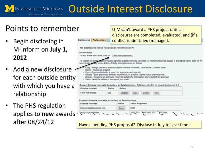 Outside Interest Disclosure