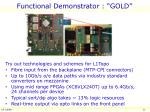 functional demonstrator gold