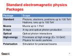 standard electromagnetic physics packages