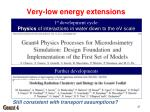 very low energy extensions1