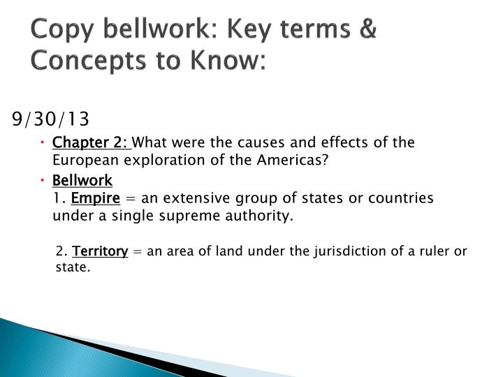 Copy bellwork key terms concepts to know