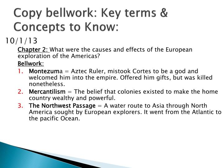 Copy bellwork key terms concepts to know1