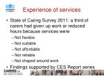 experience of services