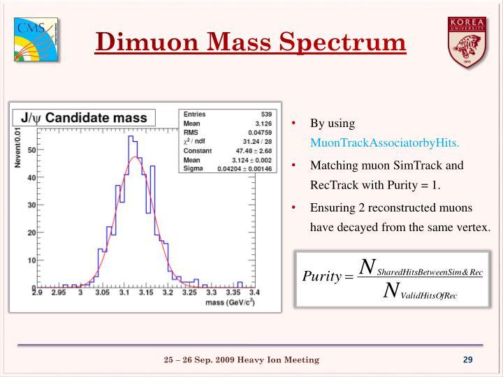Dimuon Mass Spectrum