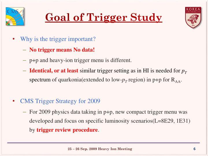 Goal of Trigger Study