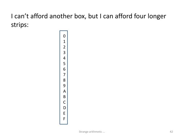 I can't afford another box, but I can afford four longer strips:
