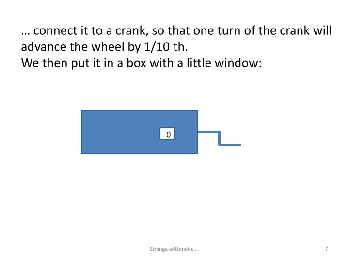 … connect it to a crank, so that one turn of the crank will advance the wheel by 1/10