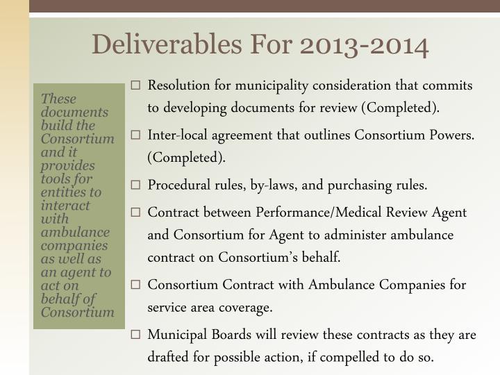 Deliverables For 2013-2014